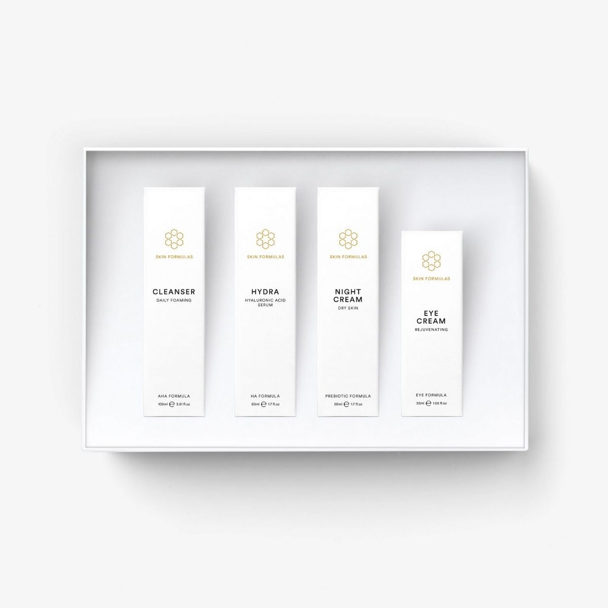 Skin Formulas Luxurious Essentials Set - Normal To Dry Skin - Daily Foaming Cleanser, Hydra, Night & Eye