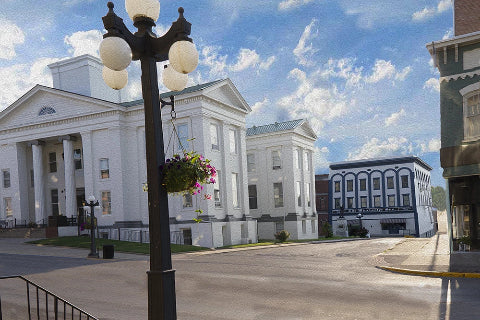Clark County Courthouse  Winchester Kentucky without Dome Fine Art Giclee Print on Paper Canvas or Wood by Brenda Salyers by Brenda Salyers - BSAhomegoodies.com