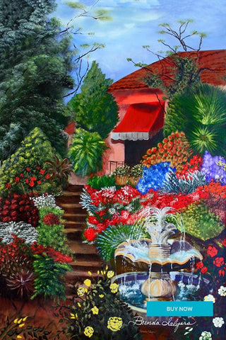 Hillside Garden Fine Art Giclee Print on Paper Canvas or Wood by Brenda Salyers Arts - BSAhomegoodies.com