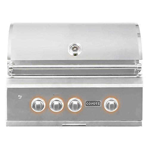 "Coyote S Series 30"" Built In Rapid Sear Grill - Coyote Built In Outdoor Charcoal BBQ Grill"
