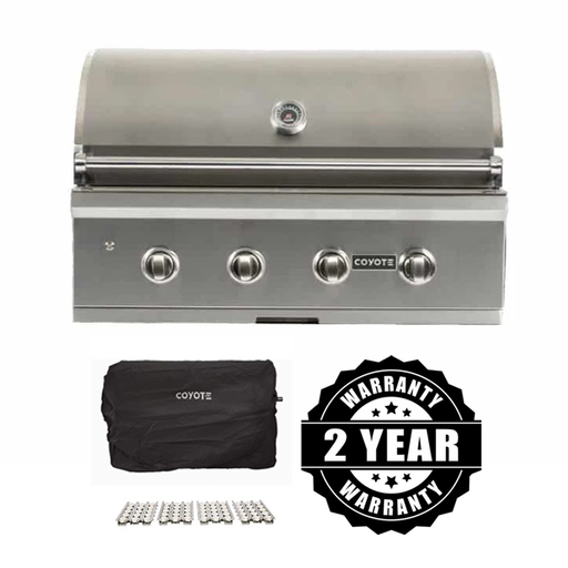 "Coyote Pro Series 36"" Package - Includes Grill, Cover, Briquettes & 2 Year Parts/Labor Warranty"