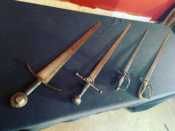Swords with a hexagonal blade section.