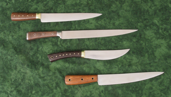 Group of 4 Medieval knives, possibly finished with a bit more polish than period pieces