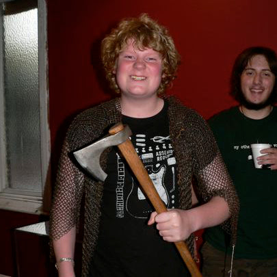 Young viking in mail with an axe
