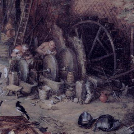 Polishers working at water powered wheels in a rustic shop by Brueghel