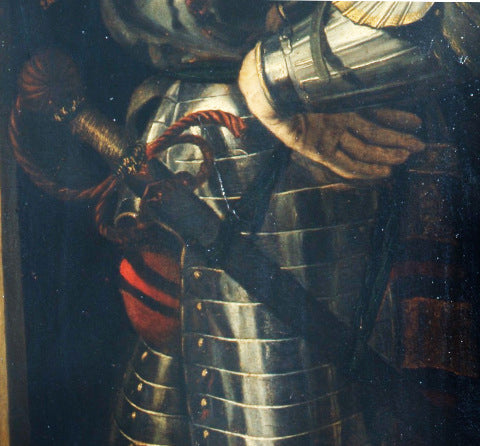 Early rapier shown worn by Francesco d'Este as St George in a painting by Dosso Dossi 1520-1530