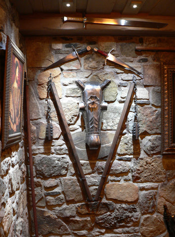 A guard room in domestic castle man cave chanfron display.