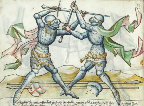 Armoured knights in medieval combat at the half sword.