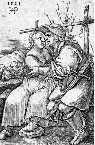 Woodcut of couple with man armed with Kriegsmesser
