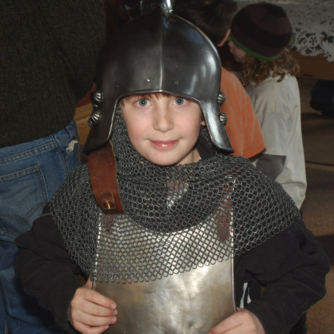 Young person in medieval armor