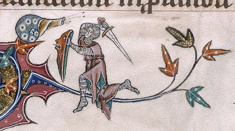 Knight fights snail marginallia