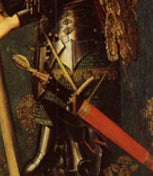 Detail of hilt fro image of armoured saint by Hugo van der Goes