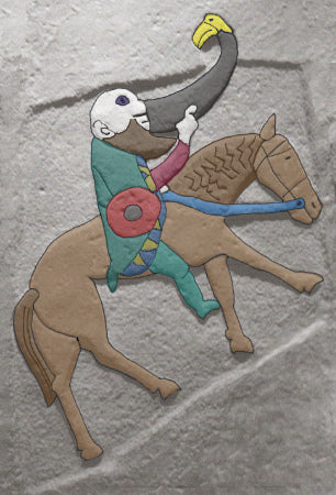 MAn on horse with drinking horn