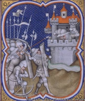 Knights carrying poleaxe in battle