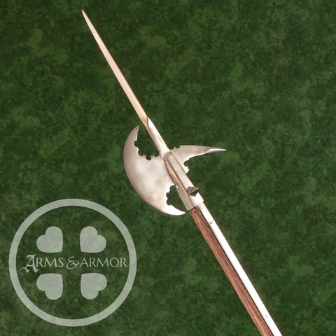Crescent bladed halberd with side spikes