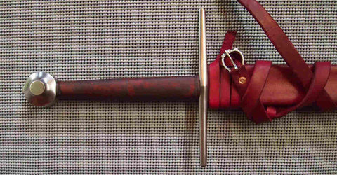 Towton Sword with Red Grip and matching scabbard with belt.