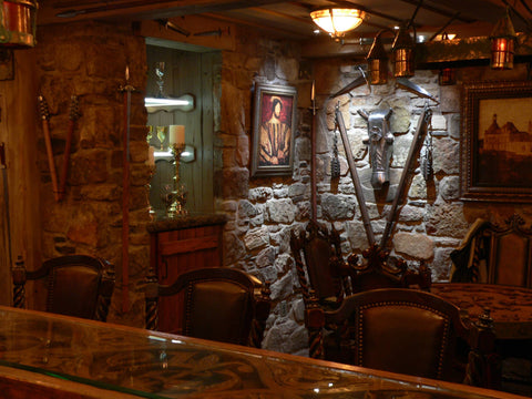 A guard room in domestic castle man cave.