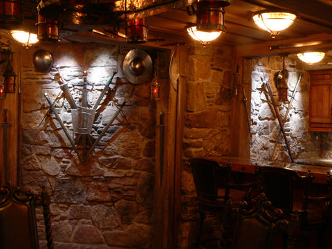 A guard room in domestic castle man cave bar corner.
