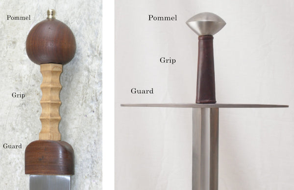 Hilt components of two different swords.