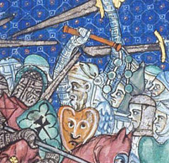 Detail of Medieval flail in battle 1300's