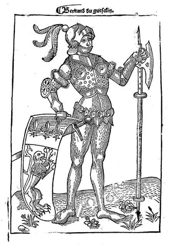 Knight depicted with pollaxe and heraldic shield