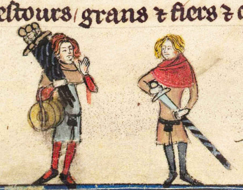 Fellow with three swords on his shoulder marginalia