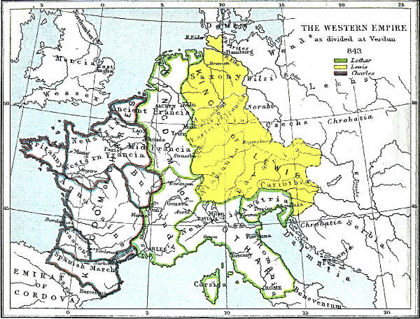 Map showing Louis the Germans kingdom