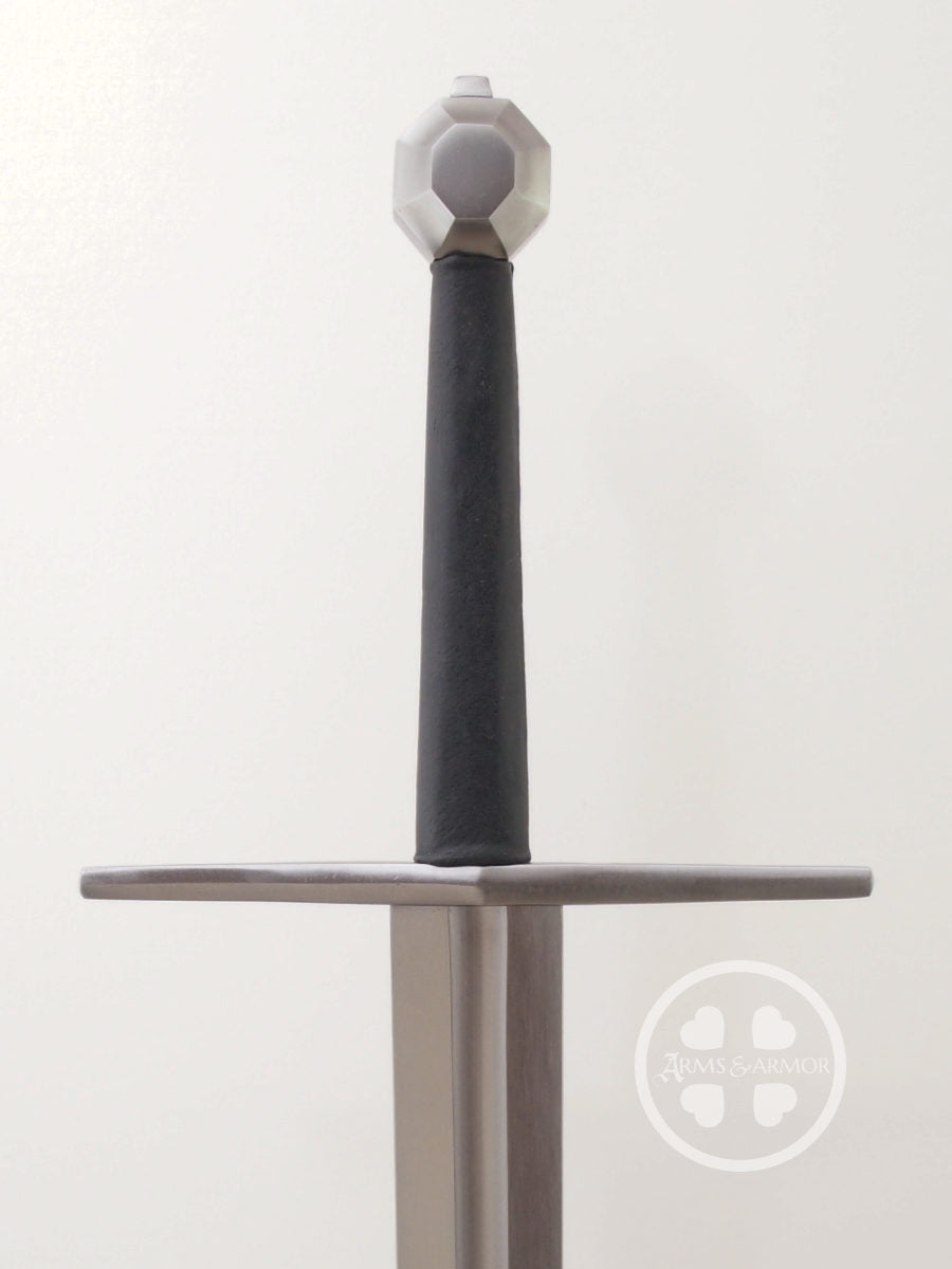 12th Century sword type XIIa blade with a fuller and hex shaped pommel and straight guard, good cutter.
