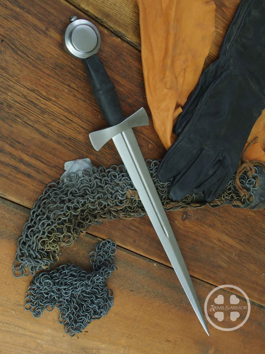 14th Century Dagger #247 original in Sweden fullered blade with wheel pommel and bow tie guard.