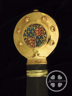 Edward the third sword pommel detail with enameled coat of arms.
