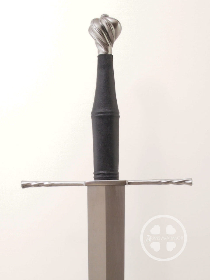 Schloss Erbach longsword type XVIIIa steel parts with black leather, great cutter.