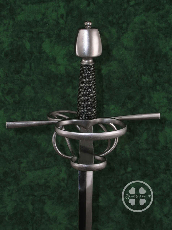 Training Rapier #219 with narrow nail blade, steel complex hilt and oval cross sectioned pommel.