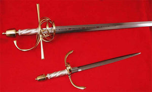 Gold and Silver Rapier and Dagger Suite