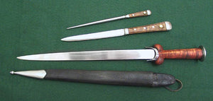 Wallace Ballock Dagger Set #199 four piece set with a large ballock style knife with a smaller by-knife, a pick and a scabbard that holds the other three items.