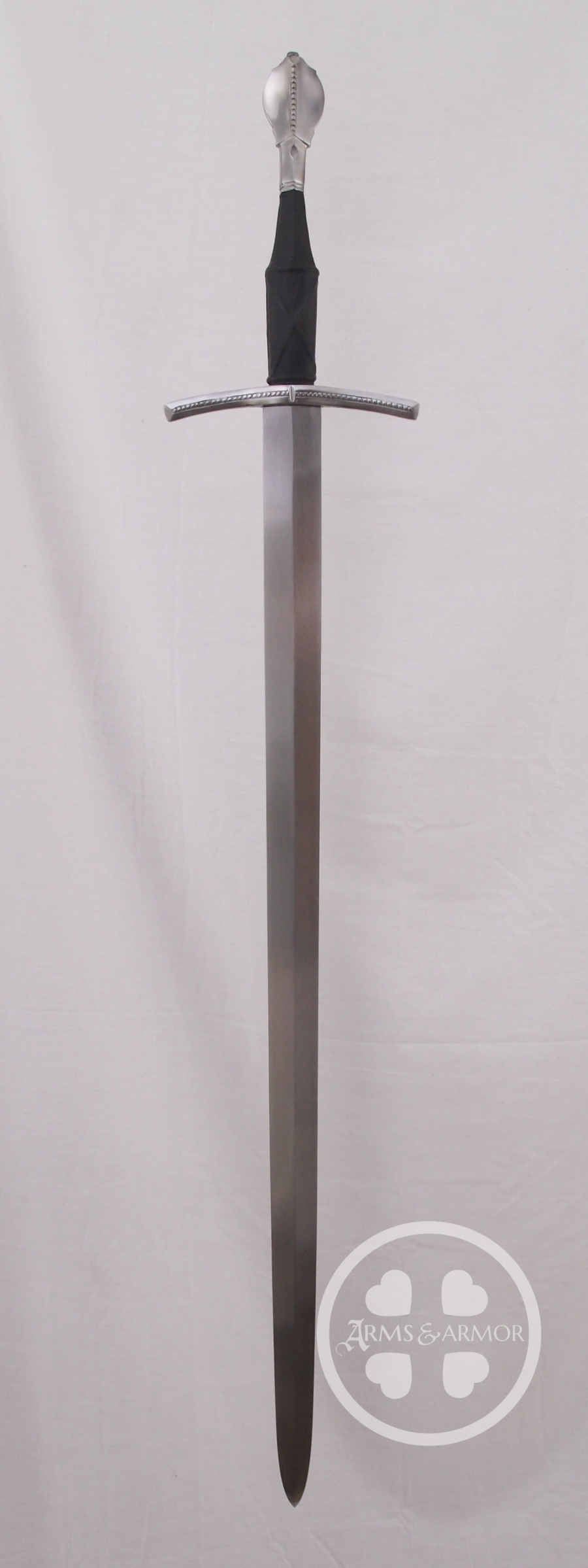 English Longsword #194 overall view with black grip of pig skin and steel fittings.