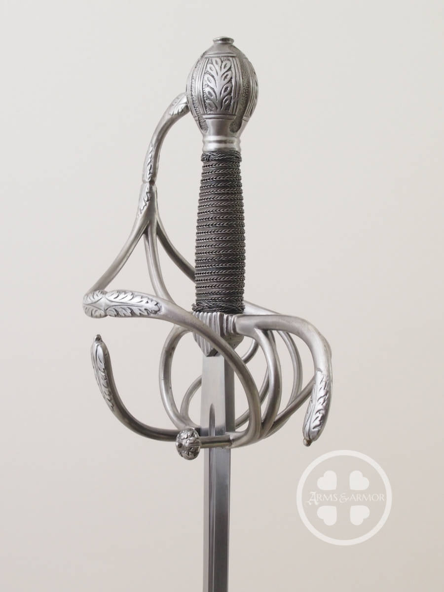 A light and quick German Rapier of the 17th Century decorated in acanthus leaves and hand built in steel #163.