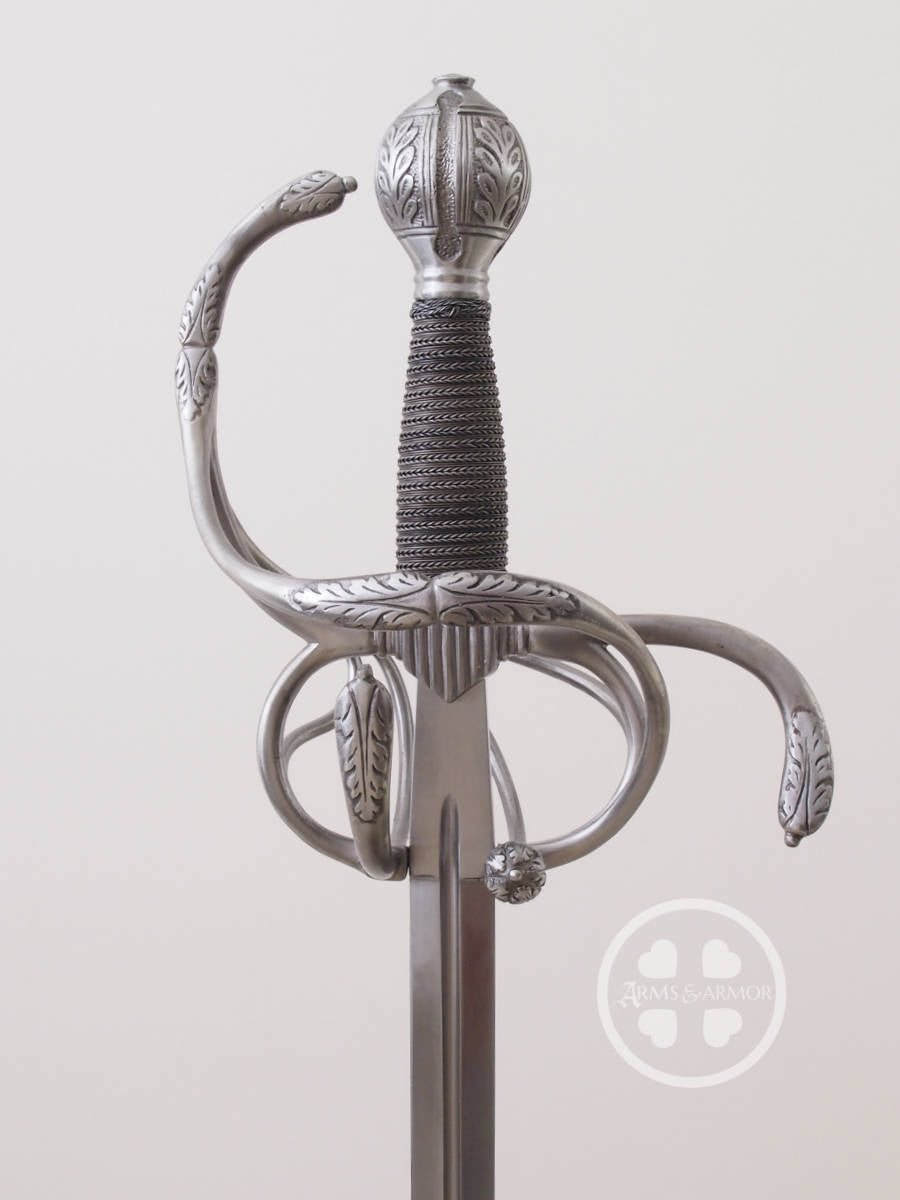 German Rapier of the 17th Century decorated in acanthus leaves and hand built in steel #163.