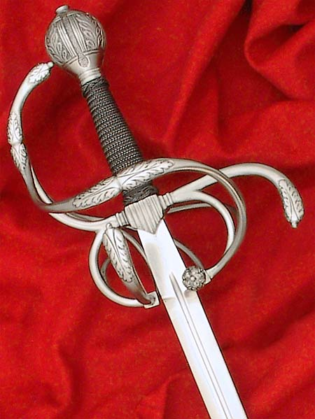 German Rapier #163 replicated from original made in Solingen in the late 16th or early 17th century, guard detailed with acanthus leaf detail.