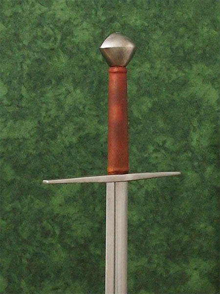 #245 Hungarian Sword Type XI blade with long straight cross guard and tea cozy style pommel with brown grip.
