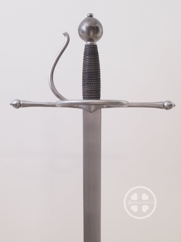 Meyer training rapier #239 steel rectangular cross section blade with good tip flex and steel hilt with wired bound grip. A Thorough Description of the Art of Combat published in 1570 by Joachim Meyer.