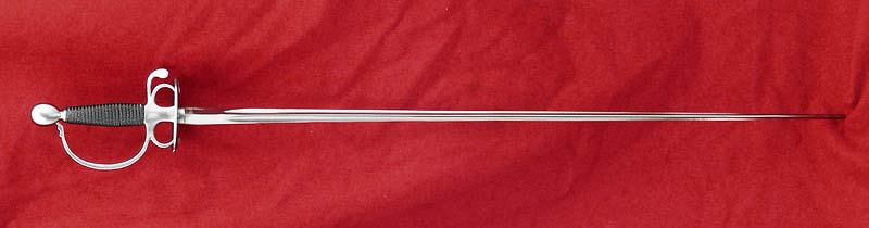 Smallsword #069 steel hilted with wire grip full length view.