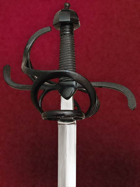 Musketeer Rapier #142 Blackend Rapier with pierced plated in the fore ring and back guard.