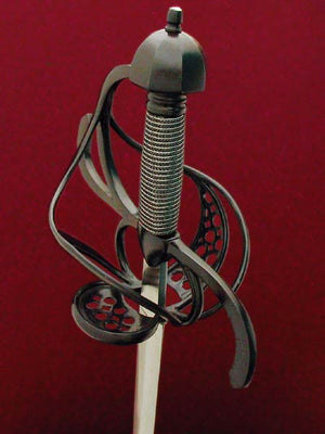 Musketeer Rapier #142 Blackend Rapier with pierced plated in the fore ring and back guard elevated view.