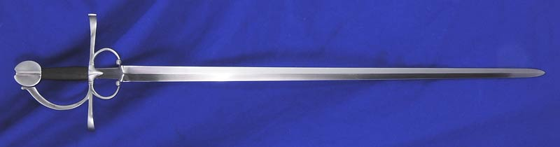 Serenissima Rapier #212 full length view with steel hilt and leather grip.