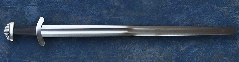 Shifford Viking Sword #049 Oakeshott Type X blade with 5 lobed pommel and leather grip full length view.