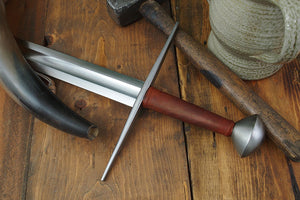 #245 Hungarian Sword Type XI blade with long straight cross guard and tea cozy style pommel with brown grip hilt view..