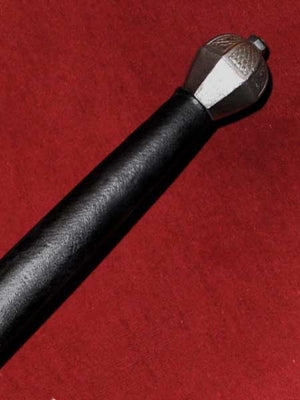 Spadone #234 black leather grip and pommel detail.