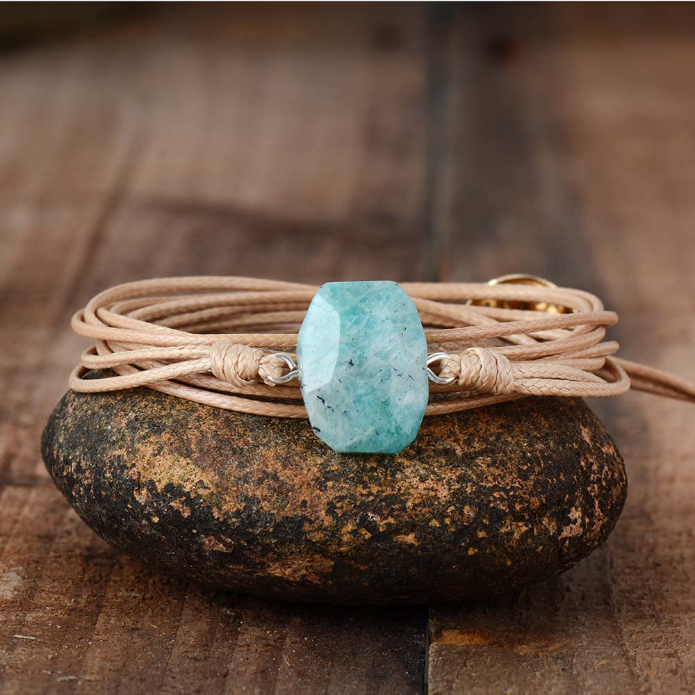 Natural Rope Wrapped Amazonite Bracelet