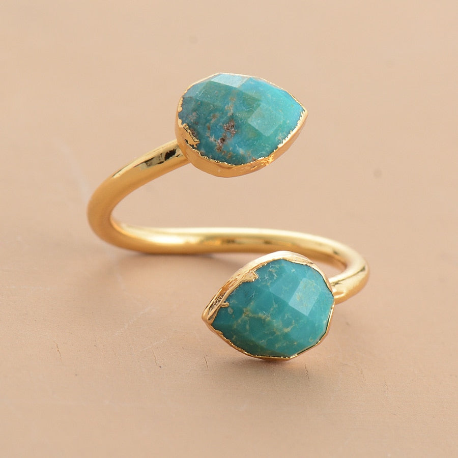 Round Gold Turquoise Ring