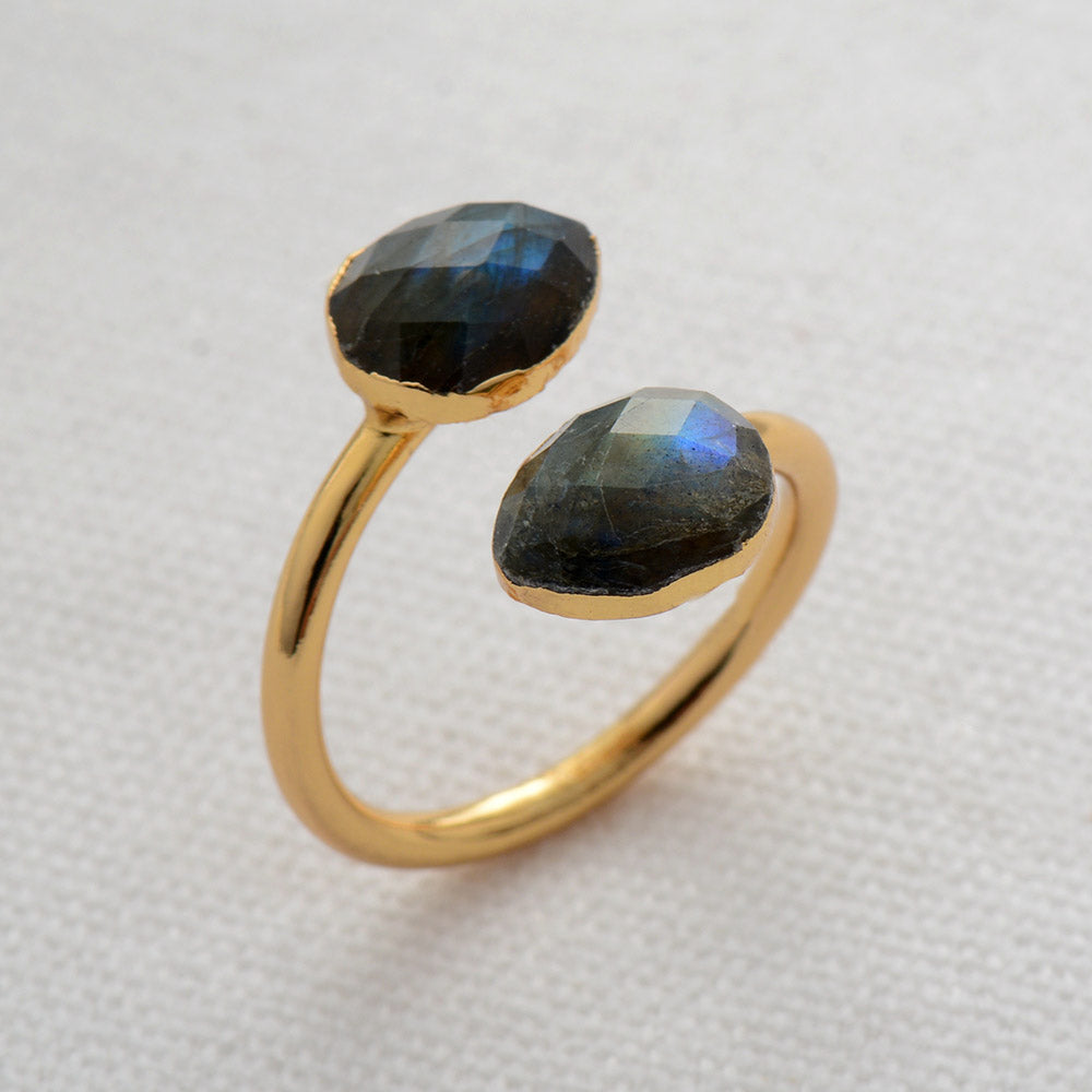 Round Gold-Plated Ring | Onyx Stone